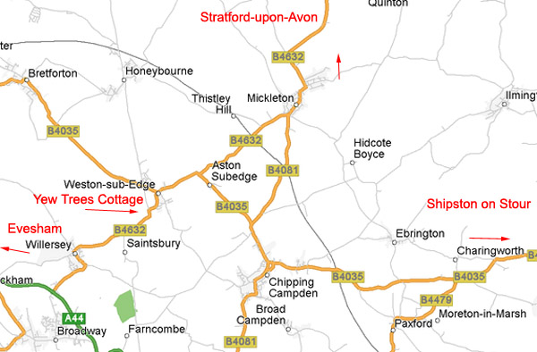 Map for Yew Trees Cottage, Weston-sub-Edge, near Chipping Campden and Broadway